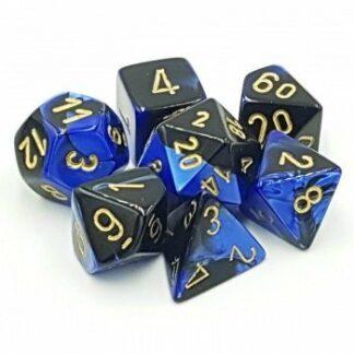 Chessex Gemini Polyhedral 7Die Set BlackBlue gold