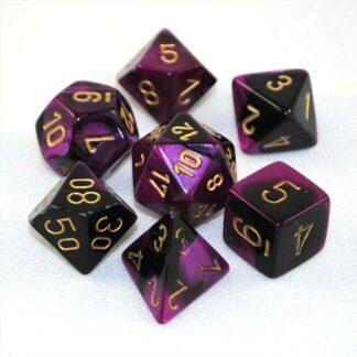 Chessex Gemini Polyhedral 7-Die Set (Black-Purple-Gold)