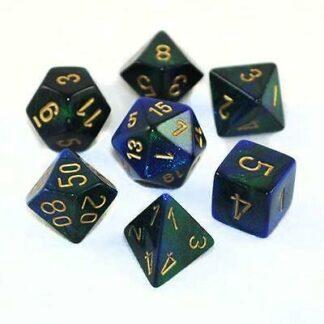 Chessex Gemini Polyhedral 7-Die Set (Blue-Green-Gold)